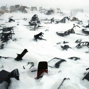 A skidoo graveyard in the remote arctic village of Ivujivik, Nunavik, Quebec, Canada, April 2006.