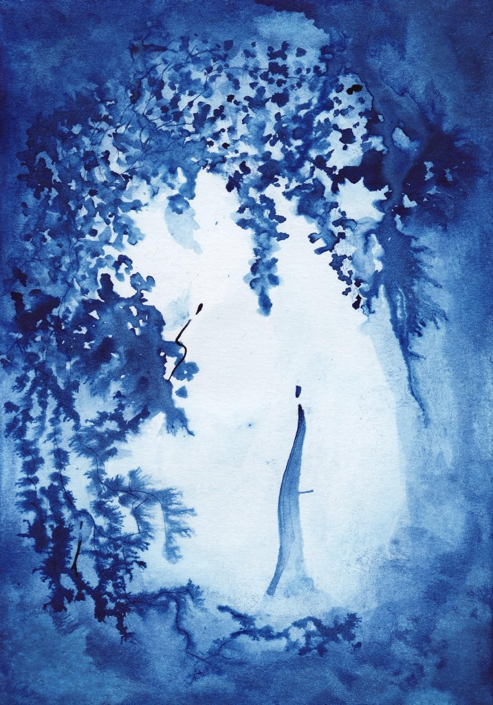 Somewhere in Paradise; Prussian Blue Ink © Karine Zibaut